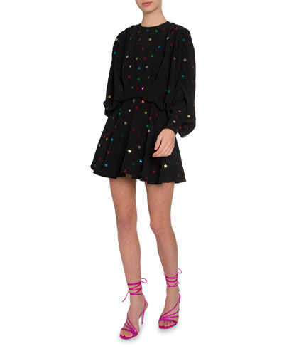 Star Sequined Flare Dress