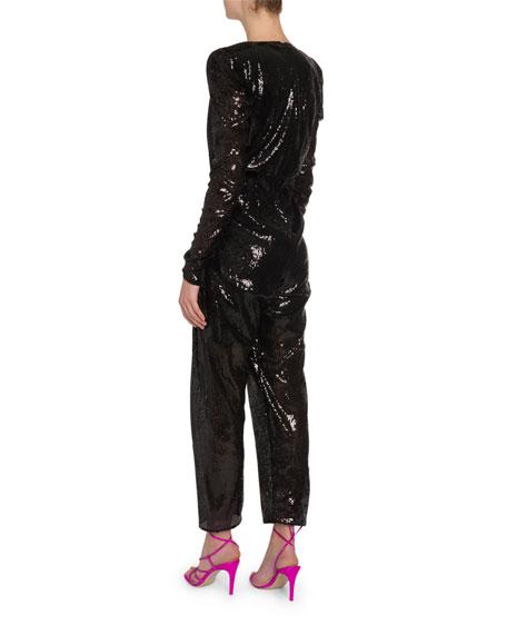 Sequined Padded-Shoulder V-Neck Jumpsuit