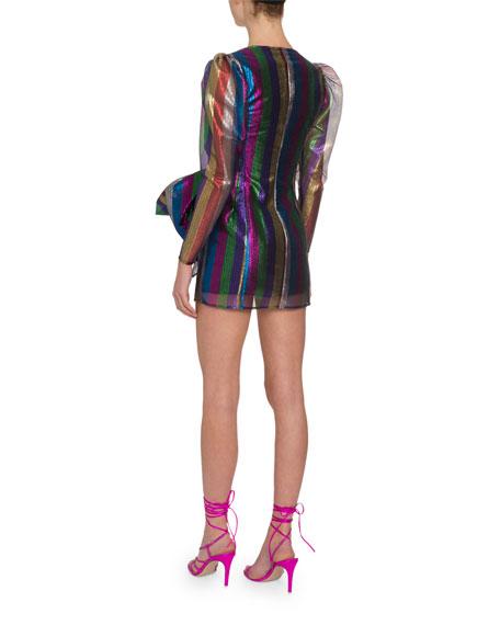 Metallic Rainbow-Striped Bow-Waist Mini Dress