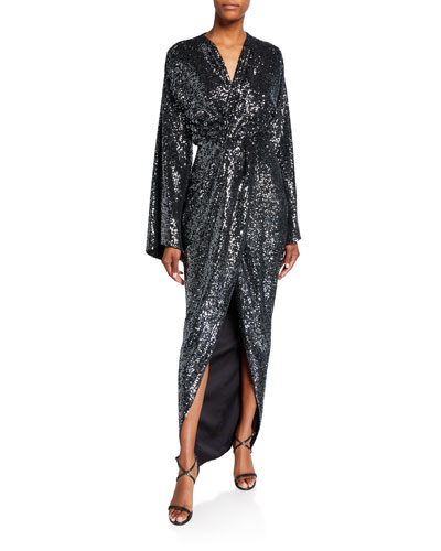 Sequined Twisted Robe Gown