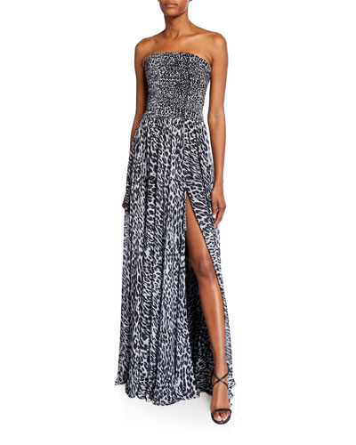 Animal-Print Strapless Ruched Gown