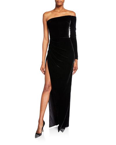Velvet One-Shoulder High-Slit Gown