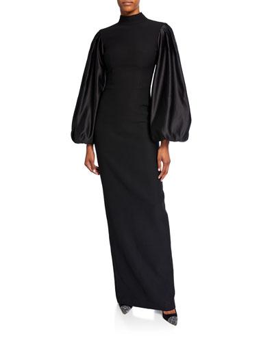 Satin Balloon-Sleeve Jersey Gown