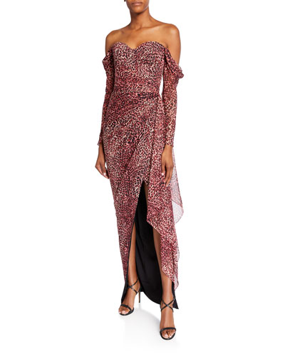Leopard-Print Off-the-Shoulder Chiffon Gown
