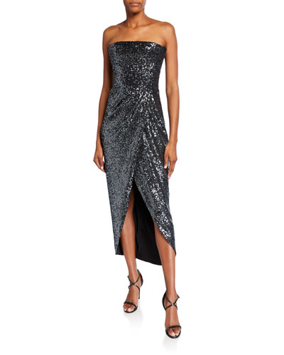 Strapless Sequined Wrapped Gown