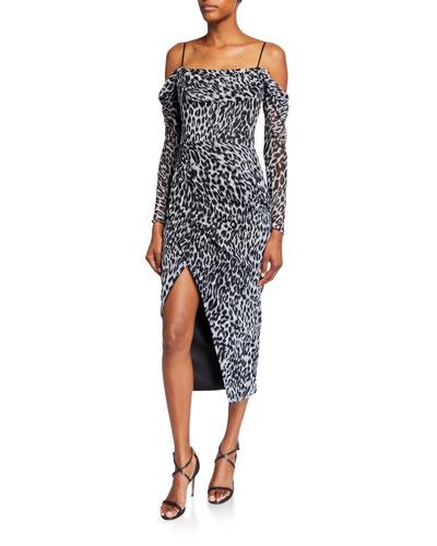 Animal-Print Chiffon Cold-Shoulder Wrap Dress
