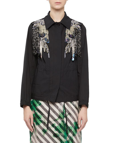 Embellished Button-Front Jacket with Beading & Paillettes
