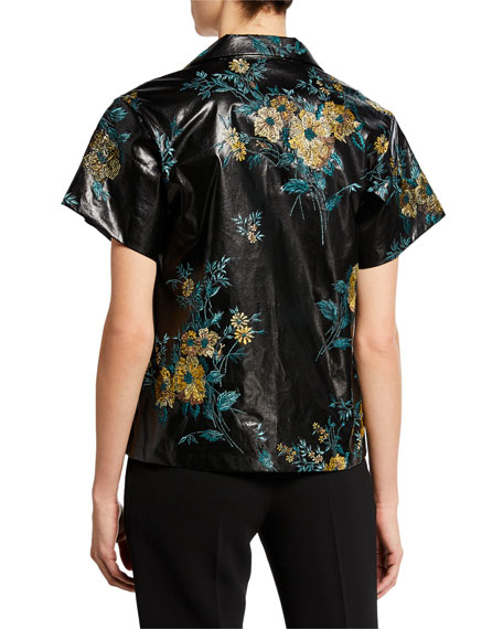 Faux-Leather Floral Short-Sleeve Shirt