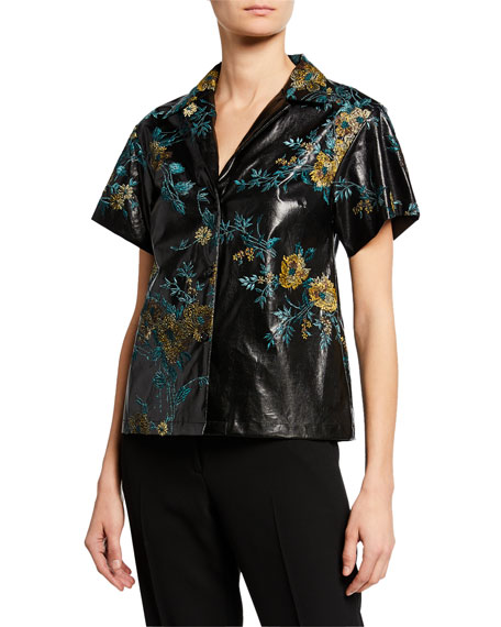 Image 1 of 1: Faux-Leather Floral Short-Sleeve Shirt