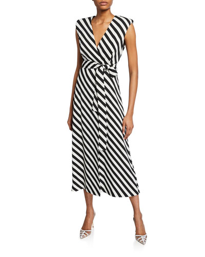 Striped Jersey Tie-Waist Dress