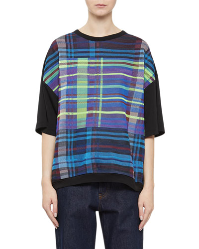 Plaid & Contrast Short-Sleeve Top