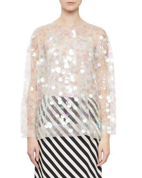 Image 1 of 1: Clear Embellished Sweater