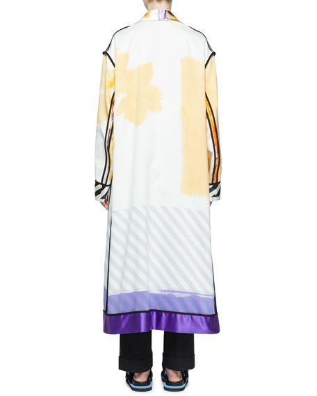 Multi Hand-Painted Button-Front Oversized Coat