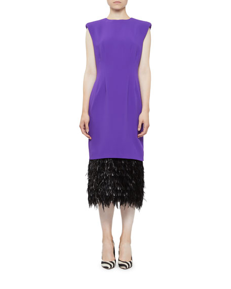 Image 1 of 1: Cap-Sleeve Feather-Hem Cocktail Dress