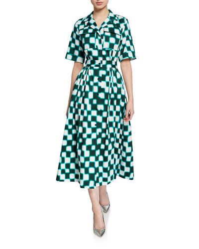 Checked Short-Sleeve A-line Dress