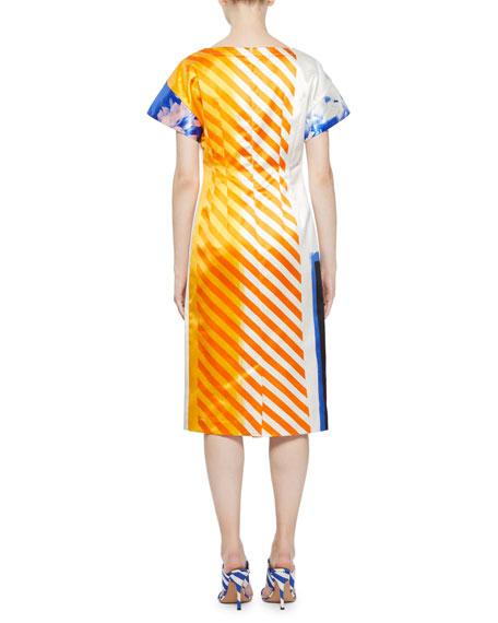 Della Stripe-Back Floral Midi Dress