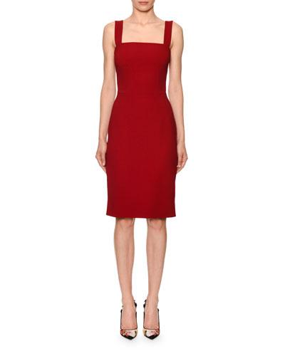 35d841ed2a137 Sleeveless Square-Neck Cady Sheath Dress Quick Look. Dolce & Gabbana