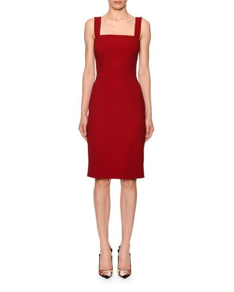 Sleeveless Square-Neck Cady Sheath Dress