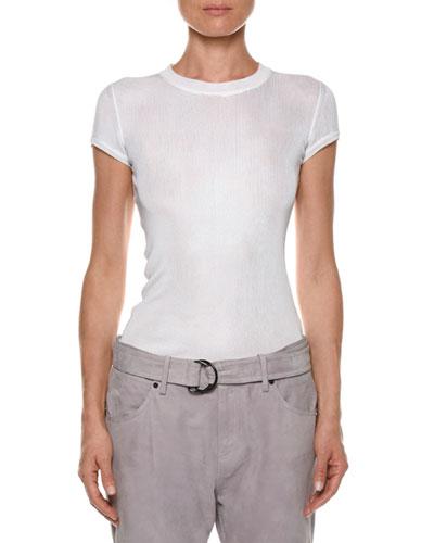 Crewneck Short-Sleeve Knit Muscle Tee