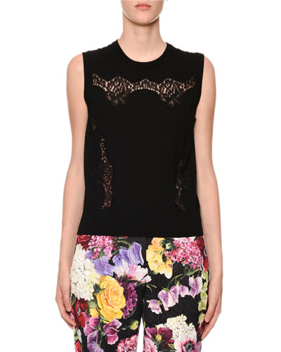 Crewneck Sleeveless Knit Shell Top with Lace Inset