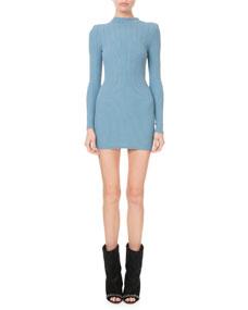 c67e6e5b Balmain Mock-Neck Crochet Ribbed-Knit Button-Shoulder Mini Dress