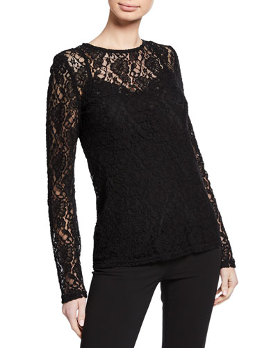 Long-Sleeve Crewneck Stretch-Lace Blouse