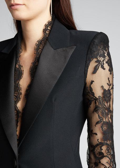 Lace-Sleeve Blazer Jacket