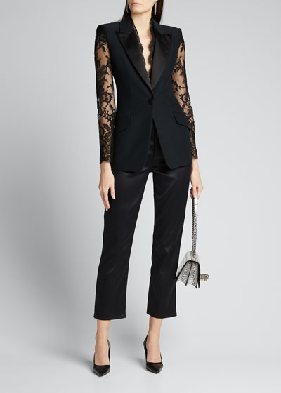 Lace-Sleeve Blazer Jacket