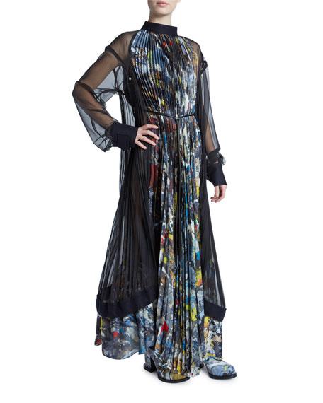 Jackson Pollock Splatter Paint Plisse Dress