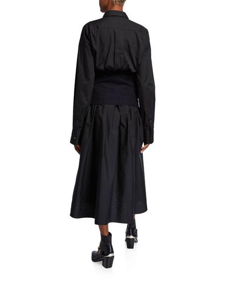 Poplin Shirtdress w/ Detachable Corset, Black/Blue