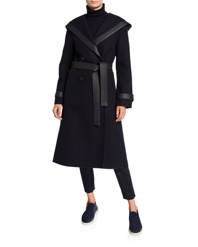 Cashmere Leather-Trim Hooded Coat