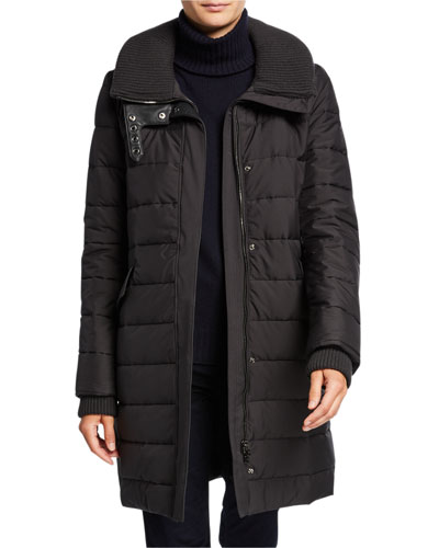 Long Wind-Resistant Quilted Coat