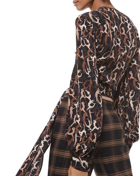 Dancer-Print Silk Wrapped Top