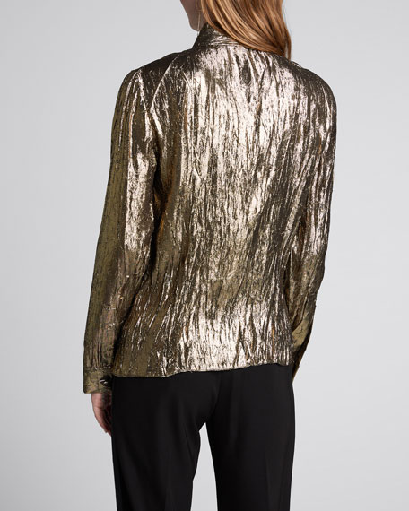 Crushed Metallic Button-Front Shirt