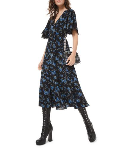 Floral-Print Silk Seamed Flare Dress