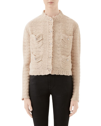 Crocheted Jewel-Button Cardigan