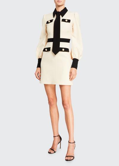 Contrast-Trim Cady Crepe Dress