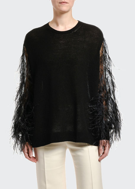 Image 1 of 1: Wool-Cashmere Feather-Sleeve Sweater