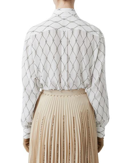 Jeweled Silk Button-Front Shirt