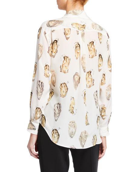 Embellished Shell-Print Silk Shirt