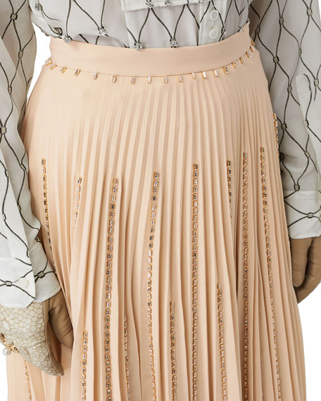 Jewel-Embellished Pleated Skirt