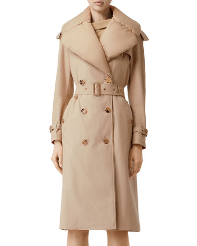 Puffer-Collar Trench Coat