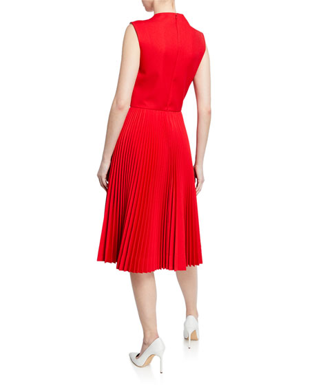 Pleated-Skirt Crewneck Sleeveless Fit-and-Flare Dress