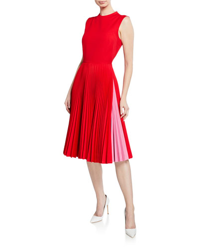 5e83ea71aa4a6a Pleated-Skirt Crewneck Sleeveless Fit-and-Flare Dress Quick Look. CALVIN  KLEIN 205W39NYC