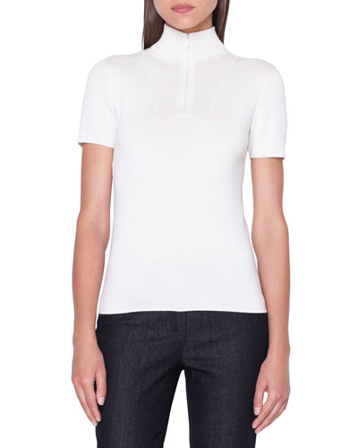 Short-Sleeve Front-Zip Cashmere/Silk Sweater