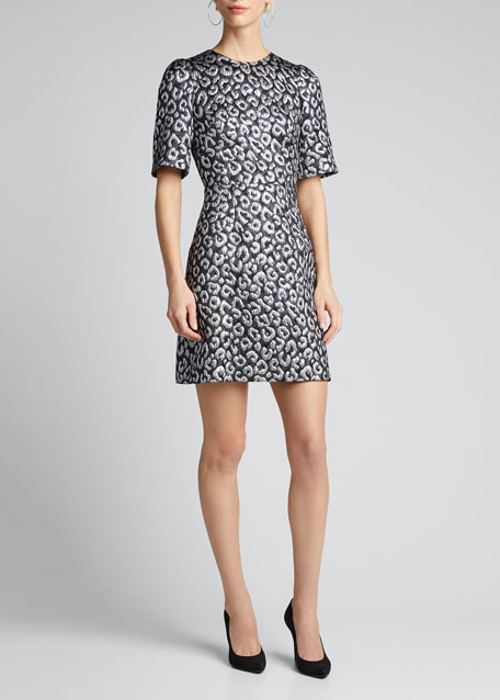 Animal Jacquard 1/2-Sleeve Dress
