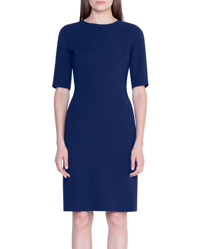Double-Face Wool Half-Sleeve Dress