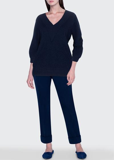 Cashmere Silk Ribbed V-Neck Sweater