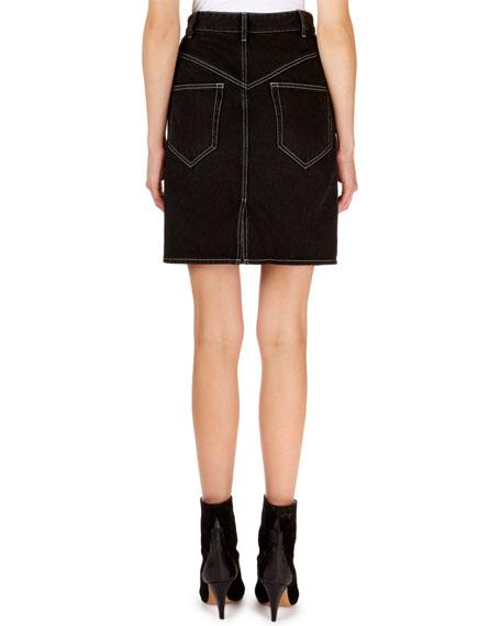 Lorine Stitched Denim Pencil Skirt