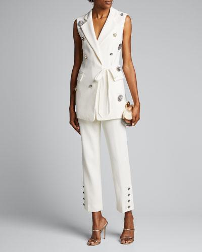 Crystal Button Crepe Wrap Vest